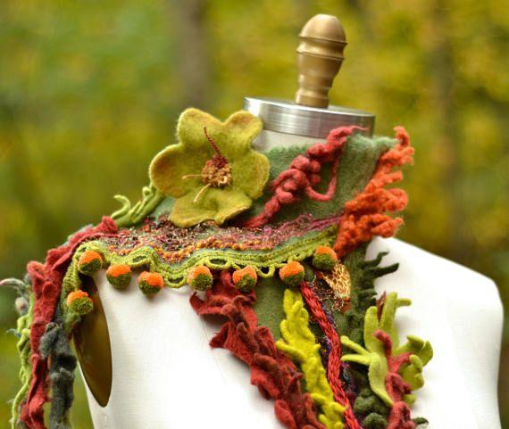 Cashmere wool Scarf/ Shawl OOAK unique fantasy wrap art to
