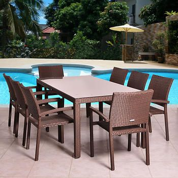 Atlantic 9 Piece Dining Set In Brown