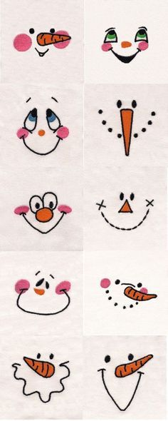 Snowman Faces Embroidery Machine Design Details. Use for Hand Embroidery snowman, doll faces. jwt: