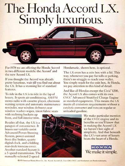1978 Honda Accord LX original vintage advertisement. We make it simple.
