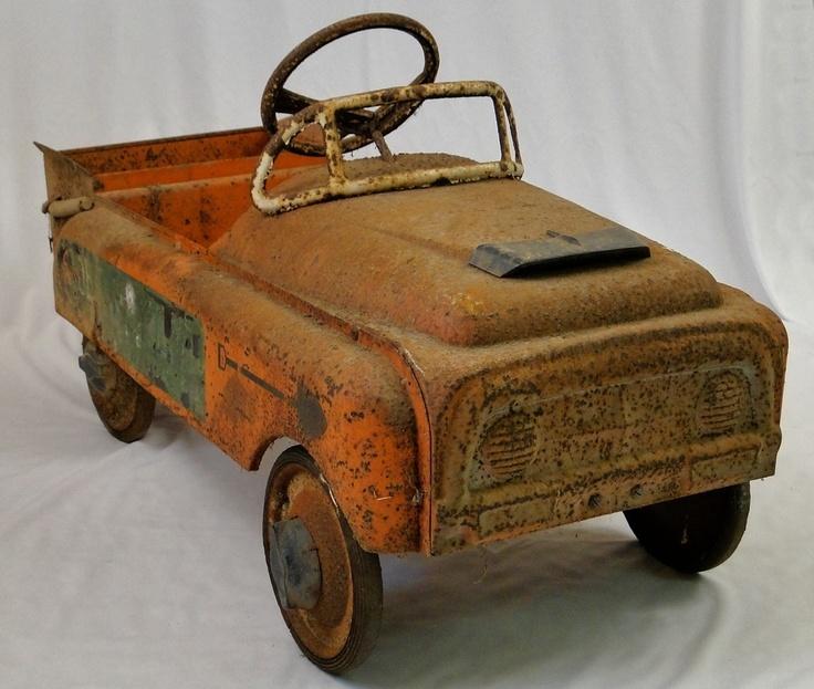 old vintage estate pressed steel dump truck pedal car