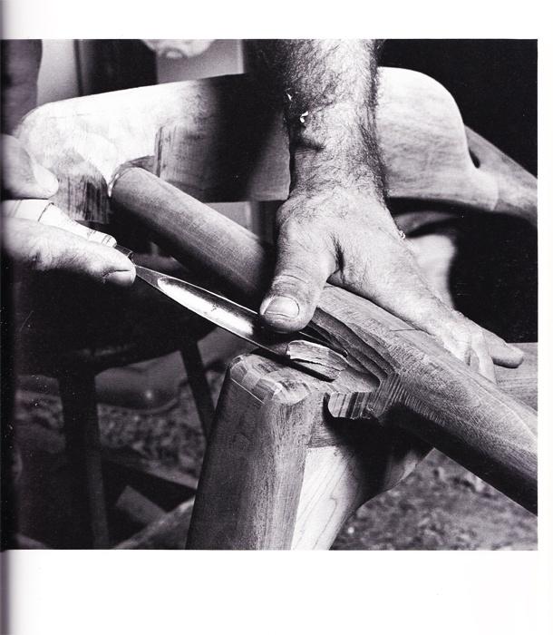 Sam Maloof, sculpturing a chair