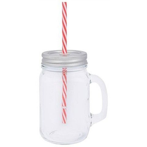 Mason Jar with Straw - Amour Decor