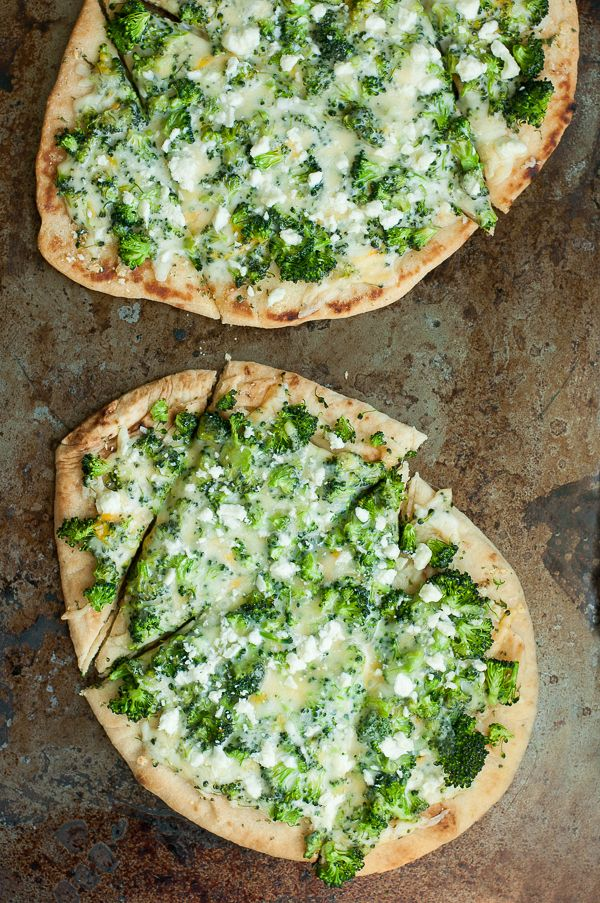 Broccoli and Cheddar Four-Cheese Pizza Flatbreads for Two