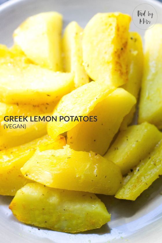 Greek Lemon Potatoes (vegan, no broth, Patates Lemonates) via Food by Mars