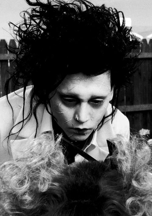 "Johnny Depp (1963- , age 27) as Edward Scissorhands in ""Edward Scissorhands"", 1990, directed by Tim Burton."