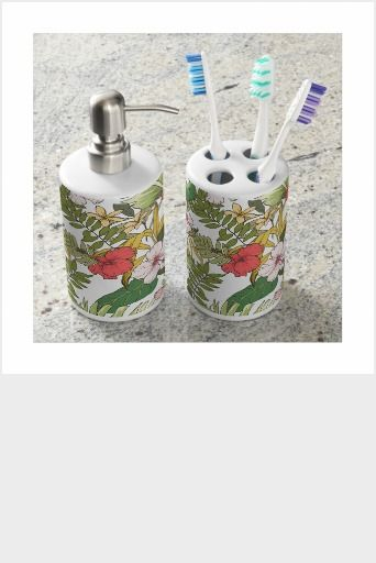 Tropical Floral Bathroom Set