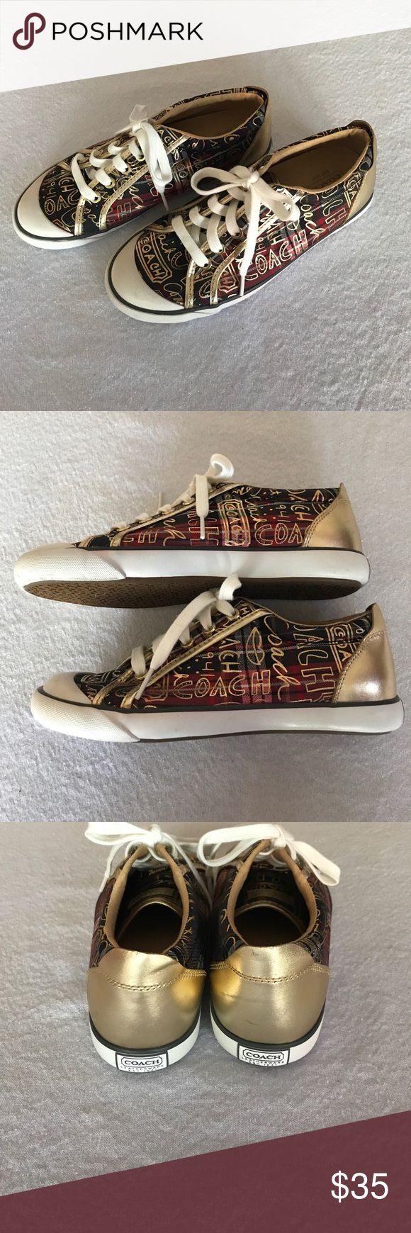 Coach Tennis Shoes Gold, red and green Coach Tennis Shoes. There are a few scuff marks but over all excellent condition. Coach Shoes Sneakers