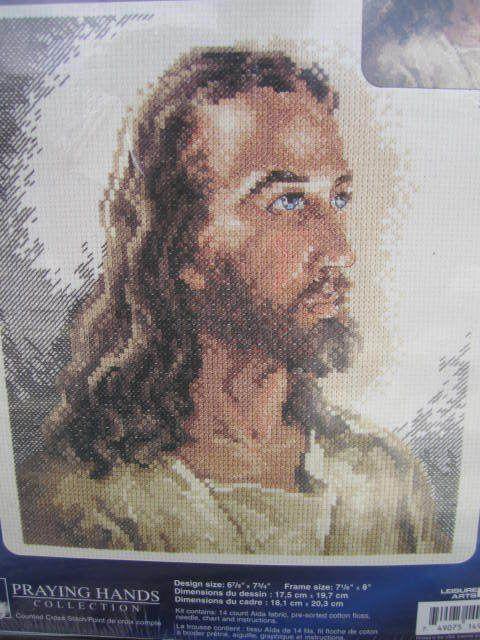 SeeSallySew.com - Portrait of Christ Cross Stitch Needlework Praying Hands Collection Leisure Arts 114900 Kit , $20.00…