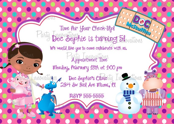 33 best doc mcstuffins party images on pinterest | birthday party, Party invitations