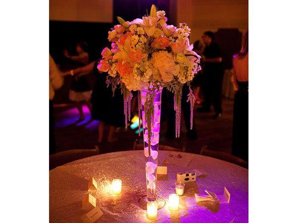 Arreglos de flores para bodas de noche altos
