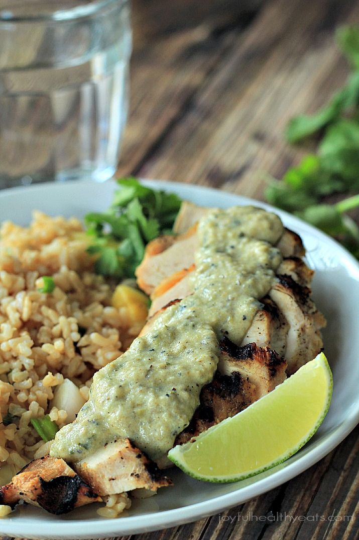 The grill never tasted so good with this Grilled Chicken with Tomatillo Roasted Poblano Cream Sauce