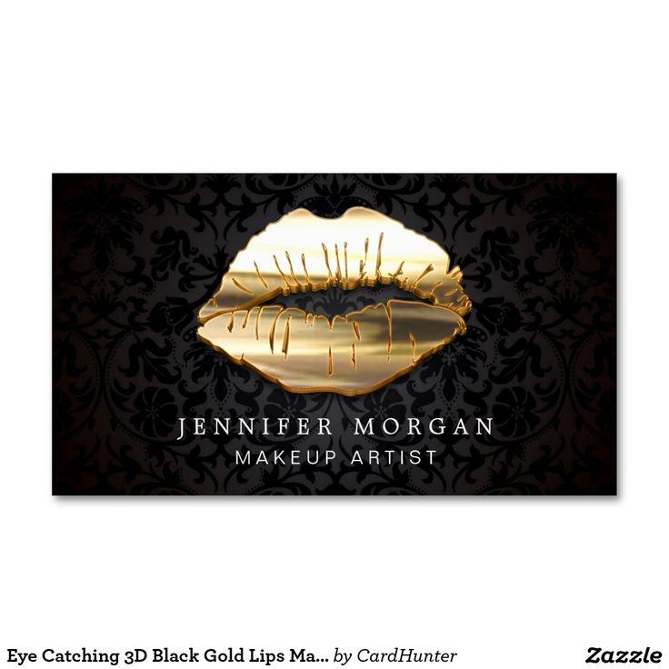 Eye Catching 3D Black Gold Lips Makeup Artist Double-Sided Standard Business Cards (Pack Of 100)