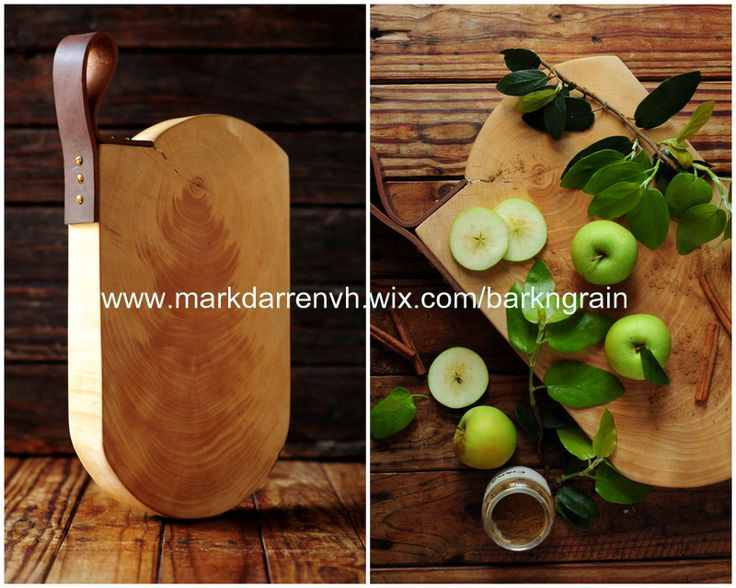 Large serving board with thick leather handle - made in South Africa by Bark n' Grain