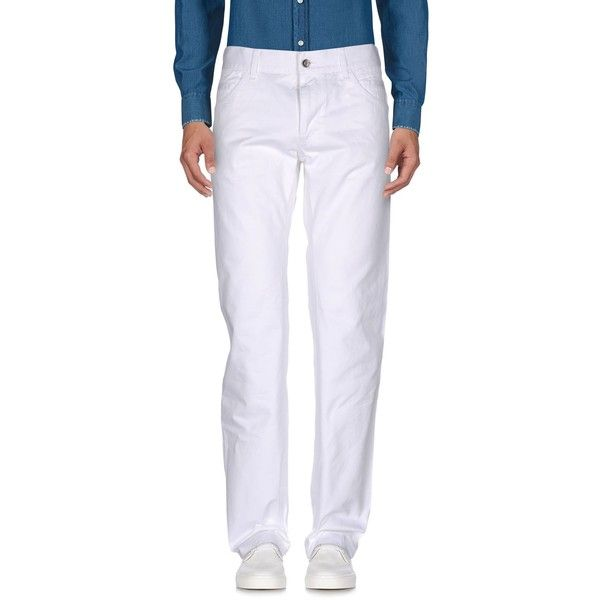 Dolce & Gabbana Casual Pants ($238) ❤ liked on Polyvore featuring men's fashion, men's clothing, men's pants, men's casual pants, white, mens 5 pocket pants, mens white pants, mens zip off pants and mens zipper pants
