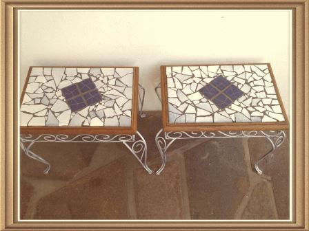 Finished these mosaic tables for a client - Reserved at the moment.. fantastic!