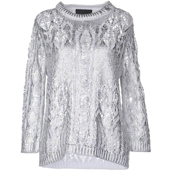 Philipp Plein Couture Jumper ($510) ❤ liked on Polyvore featuring tops, sweaters, silver, jumper top, long sleeve jumper, long sleeve tops, jumpers sweaters and long sleeve sweater