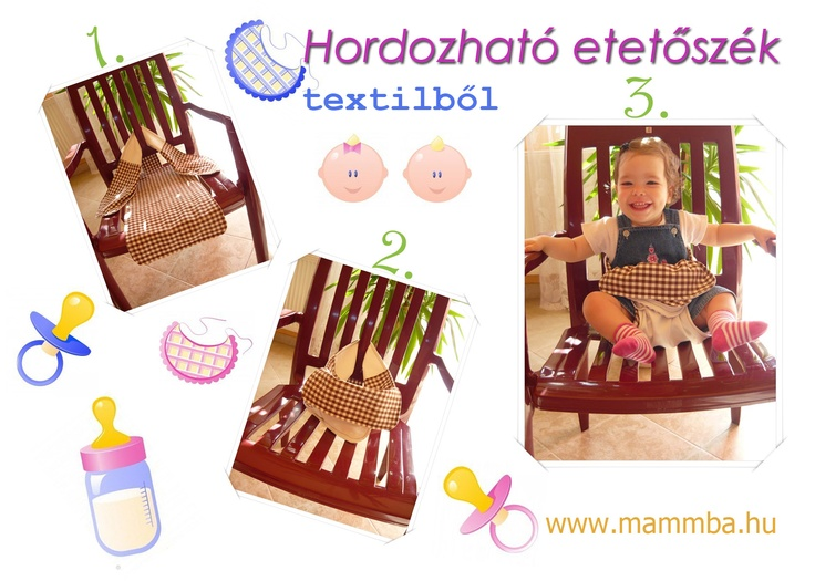 Hordozható etetőszék textilből/Mobile textile high chair for the baby (If you need the instructions in English, please contact me: kata@mammba.hu)