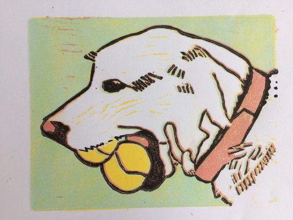 Bella limited edition linocut print dog print animal by BonnysLoft