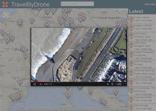 Travel By Drone  Online map documents aerial video captures to geographical locations: