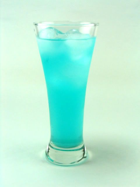 Blue spiked lemonade: 1 ounce vodka 1 ounce Blue Curacao liqueur, 4 - 5 ounces lemonade, & Ice cubes. Directions:  Combine all ingredients in a shaker jar. Mix well. Serve in tall, thin glass over ice.
