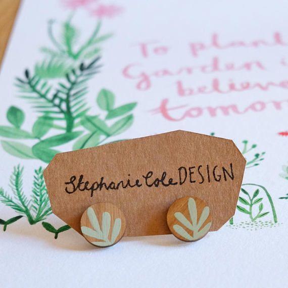 Wooden Sprig Leaf Round Stud Earrings Mint Green on Walnut wood by Stephanie Cole Design