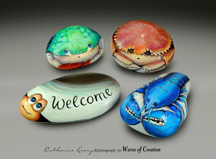Seaside-themed painted rocks