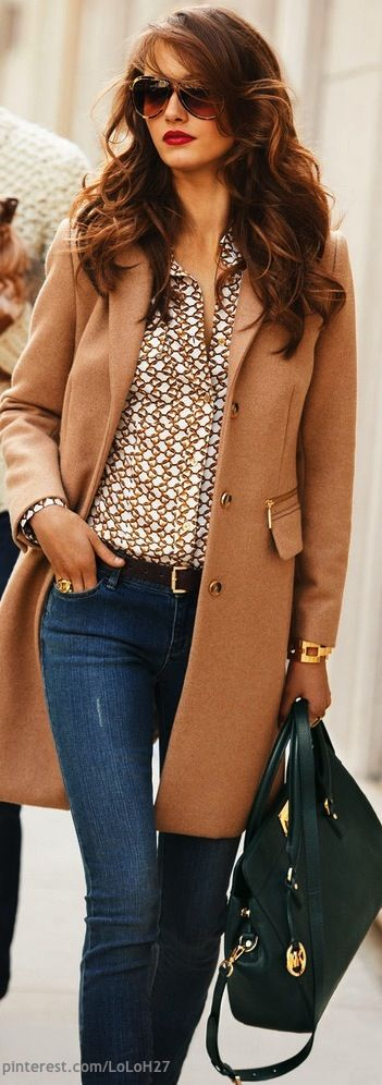 Love everything about this, especially the camel coat and the pattern on the blouse.