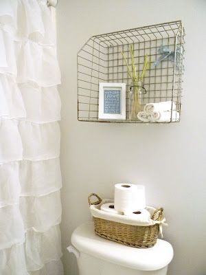 Cottage Shabby Chic Small Bathroom Decor Storage Basket Ruffle Shower Curtain