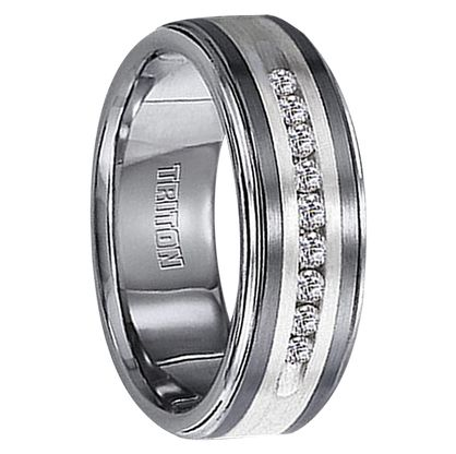 Best Seller - 1/4 cwt Genuine Diamond Wedding Band with Sterling Silver - Tungsten - Z218C