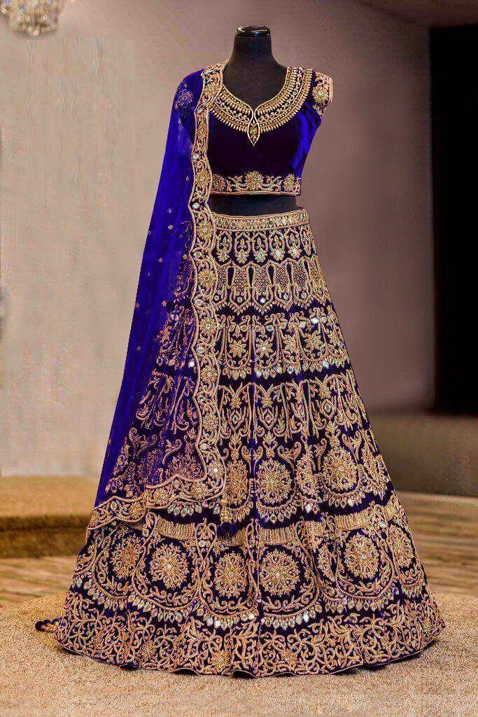 designer royal blue and gold embroidered bridal lehenga