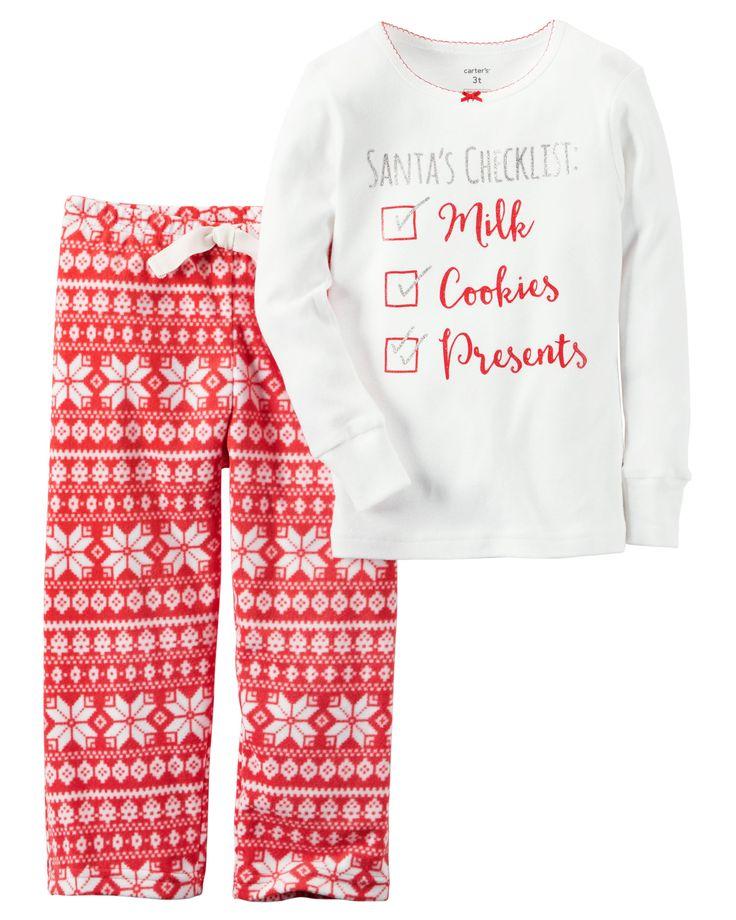 (A) Kid Girl 2-Piece Cotton & Fleece Christmas PJs   Carters.com