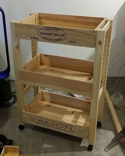 In this hack, Ikea Ivar side units plus wine crates makes a wine crate trolley.