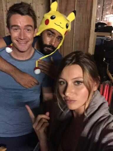 Robert Buckley, Rahul Kohli, and Aly Michalka | love this photo! Also, I totes have that Pikachu hat ;)