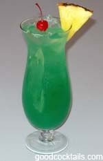 CARIBBEAN CRUISE #2 -   Ingredients:   * 1/2 oz. Vodka  * 1/2 oz. Melon Liqueur  * 1/2 oz. Peach Schnapps  * 1/2 oz. Blue Curacao  *  Pineapple Juice  * Splash of Lemon-Lime Soda  * Garnish: Pineapple Slice and Cherry    - Instructions -   * Pour vodka, melon liqueur, peach   schnapps and blue curacao into a glass with ice. Fill it with pineapple juice and add the lemon-lime soda.