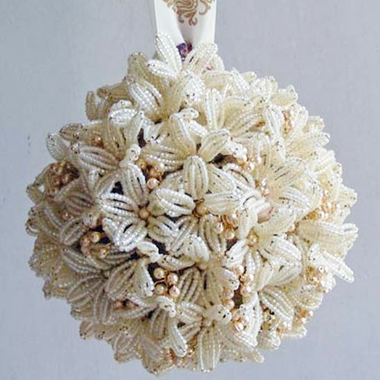"""Pomanders are perfect for younger bridesmaids or for a bride who wants to keep her hands free. Available in a range of sizes, this pomander measures 7"""" across and would cost £150. Prices vary according to size."""