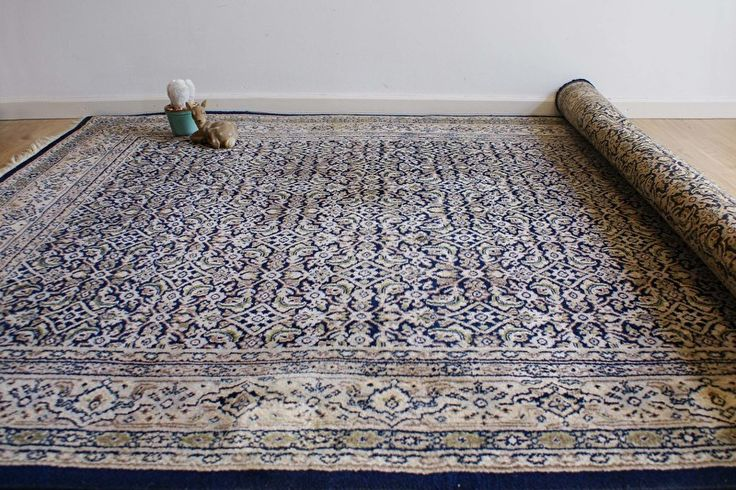 Handgeknoopt blauw Perzisch tapijt. Vintage wollen kleed, Herati.