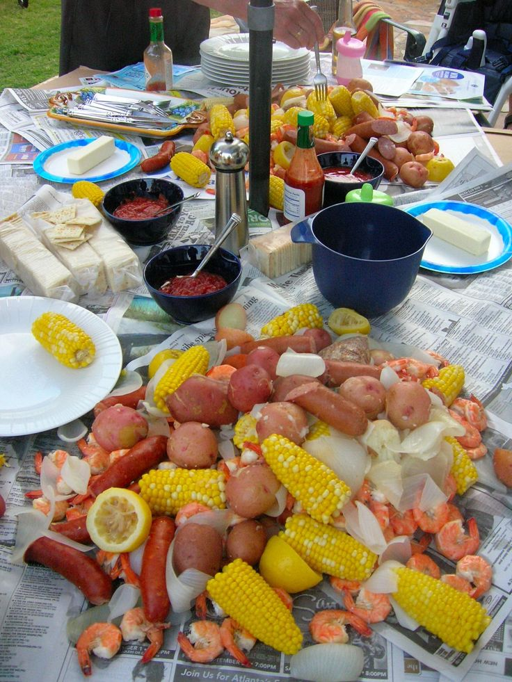 """The Gullahs had a major impact on Southern cuisine, therefore many southern dishes are steeped in Gullah tradition. Because the Gullahs lived along the coast and on barrier islands, seafood was plentiful and made up a large part of the diet. Shrimp, clams, crabs, and mussels were boiled in a big pot with corn, potatoes, sausage, and spices, and the concoction was referred to as """"Frogmore Stew."""" Today, a very similar dish is called """"Low Country Boil."""""""