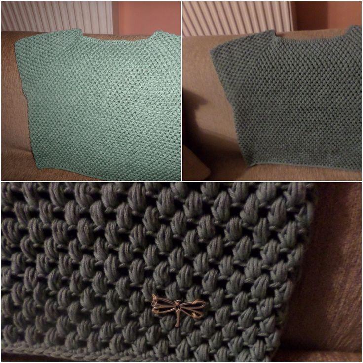 crochet green cotton blouse