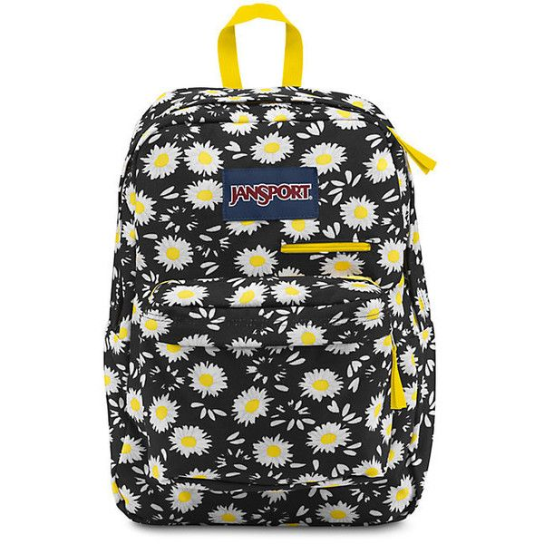 JanSport Digibreak Black Lucky Daisy (125 BRL) ❤ liked on Polyvore featuring bags, padded bag, jansport, backpack bags, daypack bag and jansport rucksack
