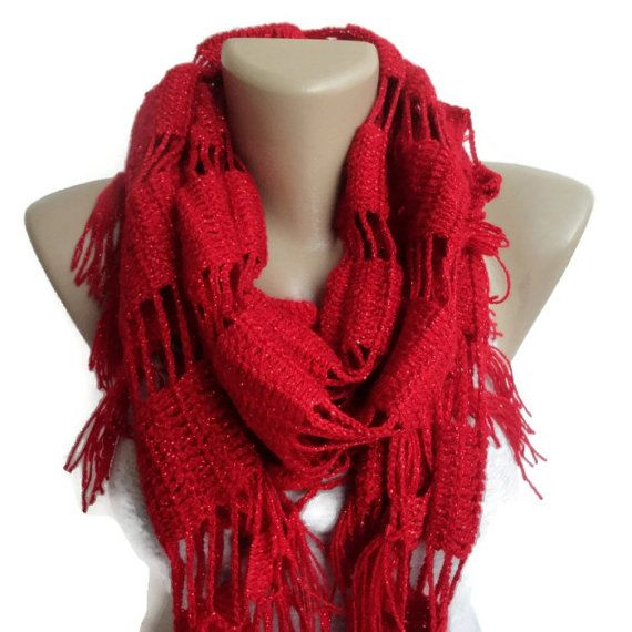 spring scarf red crocheted scarf scarves red by senoAccessory, $35.00