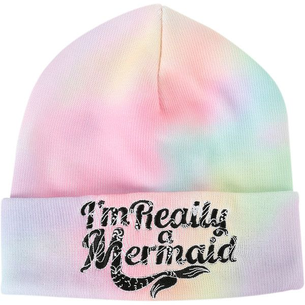 I'm Really A Mermaid Rainbow Dye Watchman Beanie | Hot Topic ($17) ❤ liked on Polyvore featuring accessories, hats, beanies, knit beanie hats, rainbow beanie, rainbow hat, beanie hats and embroidered beanie