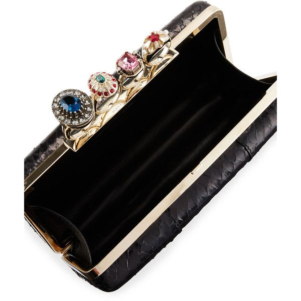 Alexander Mcqueen Nova Whips Jewelry Ring Snakeskin Box Clutch Bag (8.465 BRL) ❤ liked on Polyvore featuring bags, handbags, clutches, hard clutch, hardcase clutch, alexander mcqueen clutches, snakeskin clutches and brass knuckle purse