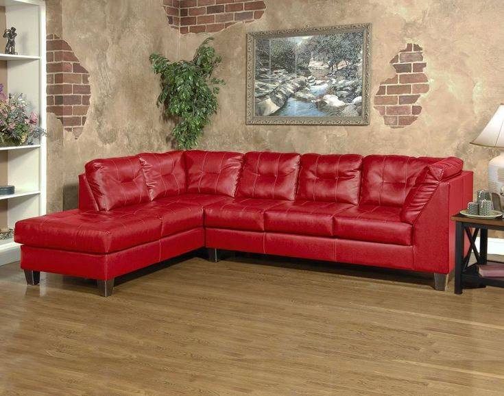 New Serta L Shaped Sectional In A Bright Red Vinyl Leather Fabric Only 699 Hughes Furniture