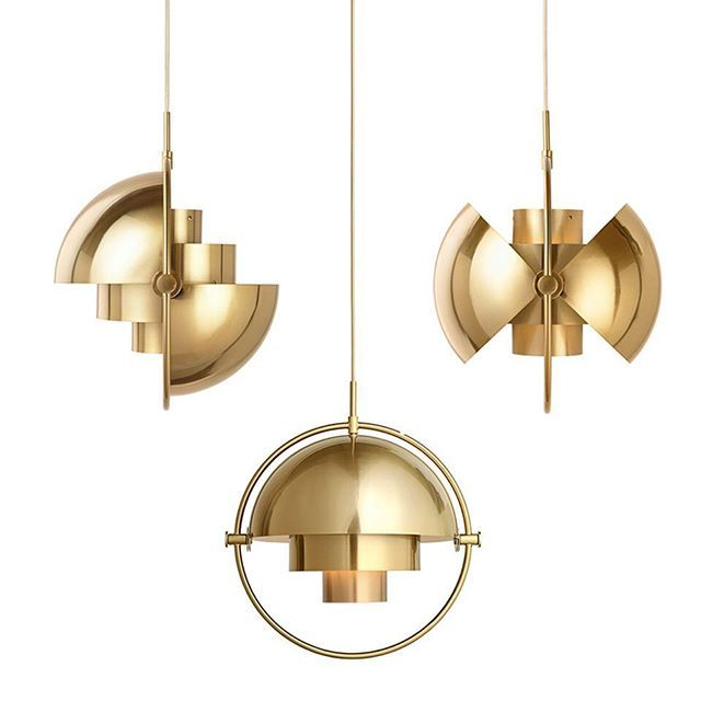 """The #Multipendantlight was created by #Danish #architect #LouisWeisdorf in #1972.  It is recognised as a part of the golden age of #danishdesign.  The #brass #pendantlight features rotational shades which can be moved to create many combinations, which can be adjusted to send the #light up, down, or asymmetrically, to create a stunning #ambient light feature.  Weisdorf describes the light : """"Two cylindrical shapes lay the foundation of the lamp and a metal ring encompasses it and anchors…"""