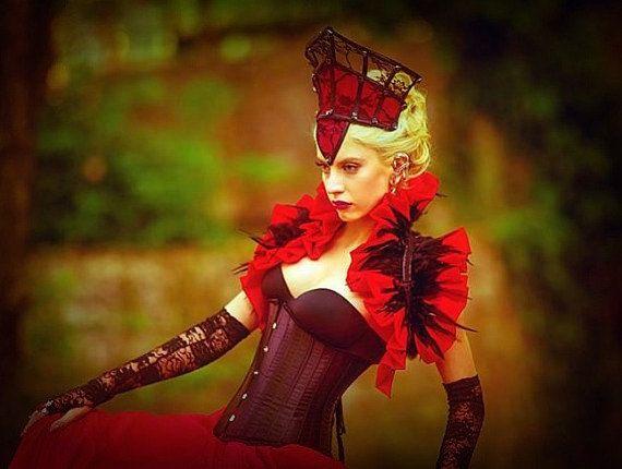 Corona de Borgoña rojo negro encaje costura gótica decorada con Preciosa joyas góticas gótico corona diadema victoriana corona-traje negro
