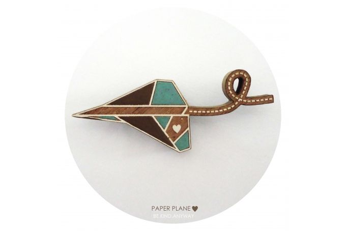Paper Plane ♥ Brooch {Turquoise} by LANDI KUHN Functional Art & Design