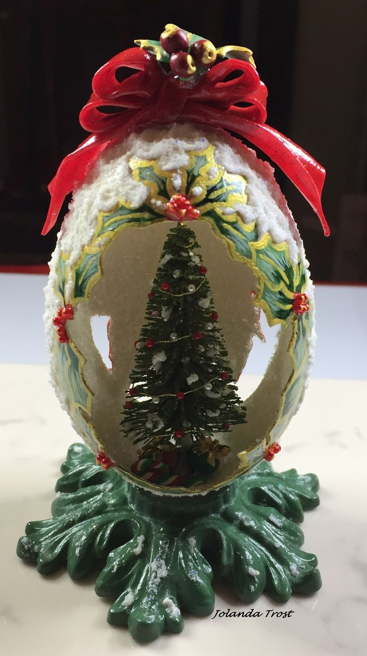 1940s 1950s vintage genuine goose egg diorama christmas ornament old - Love This Repurposed Stand Wedding Egg
