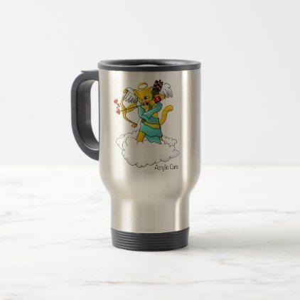 Valentine's Day Ginger Yellow Cupid Cat Travel Mug - Saint Valentine's Day gift idea couple love girlfriend boyfriend design