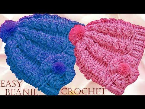 Como tejer gorro boina a Crochet o Ganchillo trenzas en relieve - YouTube